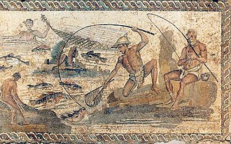 Angling - Angling in the 1st century CE. Villa of the Nile Mosaic, Lepcis Magna, Tripoli National Museum.