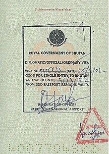visa policy of bhutan wikipedia
