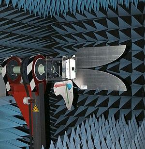 Vivaldi antenna - A one-piece sheet metal vivaldi antenna undergoing testing in an anechoic chamber