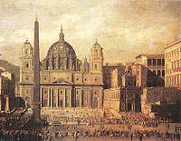 Vista de la basílica por Viviano Codazzi en una pintura de 1630