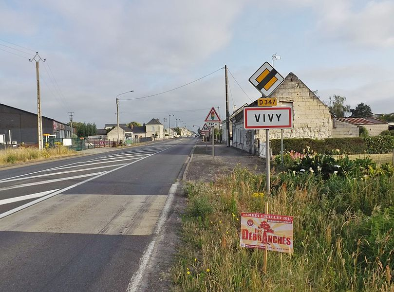 Entrance sign to the village of Vivy in Maine-et-Loire, France.