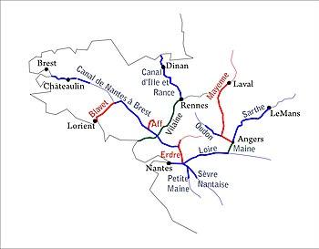 Nantes Karte.Canal De Nantes à Brest Wikipedia