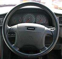 Photograph of the steering wheel of a 1998 Vol...