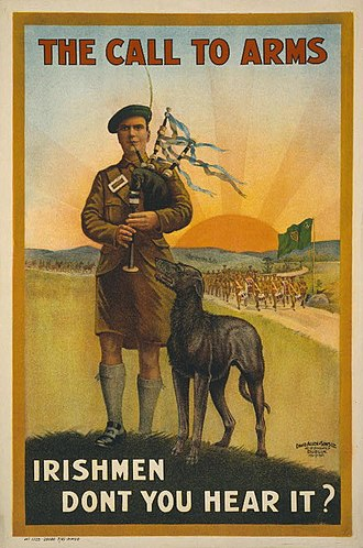 """Irish in the British Armed Forces - World War I recruitment poster: """"The call to arms. Irishmen don't you hear it?"""", 1915."""