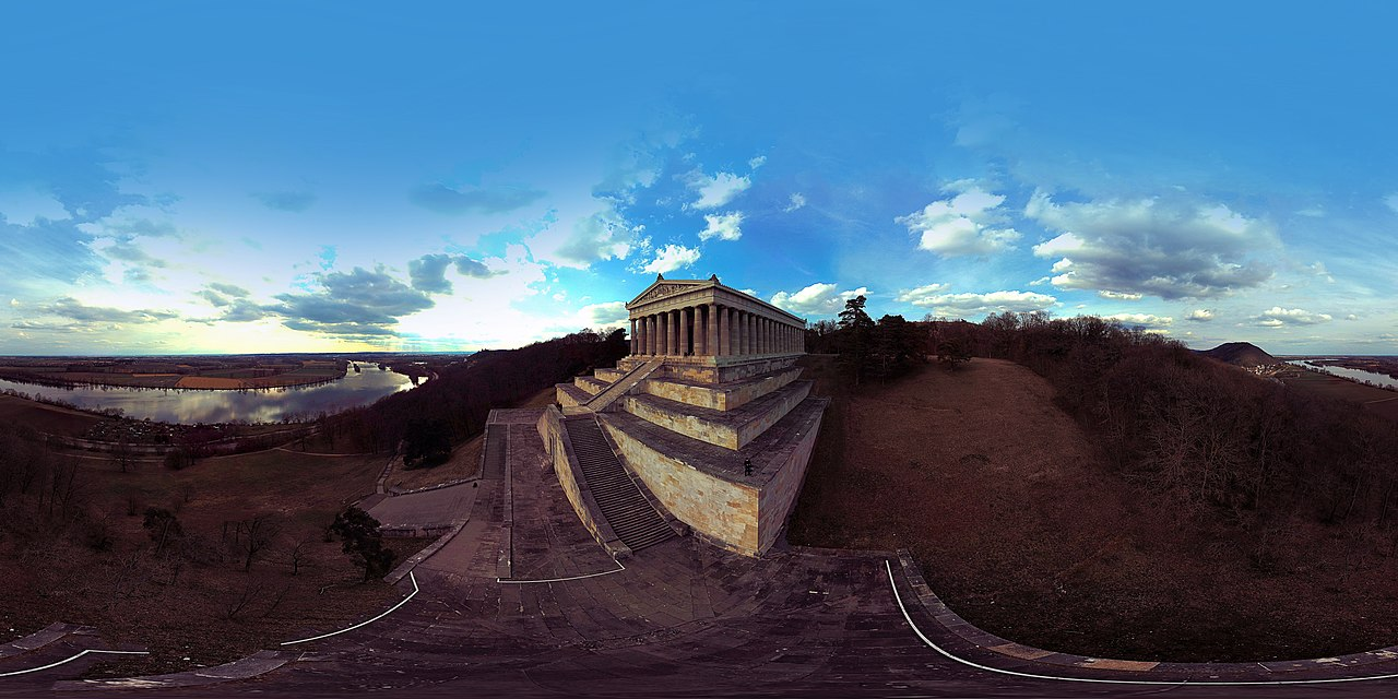 a 360° panorama photo of the Danube river and the nearby Walhalla