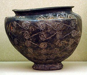 "Kerma culture - Ancient Kerma bowl kept at the Museum of Fine Arts, Boston. ""Bowl with Running-Spiral Decoration"""