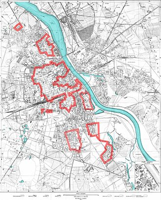 Warsaw Uprising - Polish Home Army positions, outlined in red, on day 4 (4 August 1944)