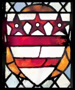Flag of Washington, D.C. - The Washington family coat of arms in 14th-century stained glass at Selby Abbey, North Yorkshire, England