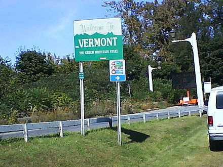 Vermont welcome sign in Addison on Route 17 just over the New York border over the Champlain Bridge Welcome to Vermont.jpg