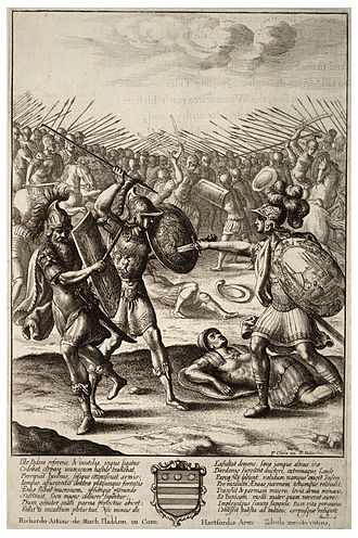 Lausus - Aeneas' fight against Mezentius and Lausus, by Wenceslaus Hollar.
