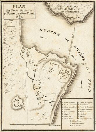 Benedict Arnold - A French map of West Point in 1780