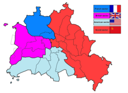 The four occupation sectors of Berlin. West Berlin is in light blue, dark blue, and purple, with several exclaves shown. Borough borders are as of 1987.