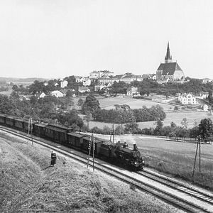 Imperial Royal Austrian State Railways - KkStB Westbahn train near Haag, Lower Austria, about 1900