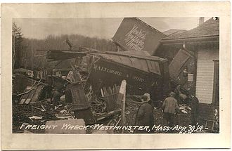 Wachusett station - Freight wreck at Westminster station in 1914