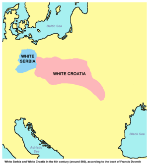 White Croatia - Approximate locations of White Croatia and White Serbia in the 6th century, according to the book of F. Dvornik