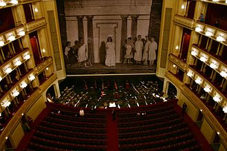 Safety curtain - The ornately decorated safety curtain of the Vienna State Opera House.