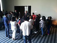 Wikimania 2015-Tuesday-Volunteers get instructions (1).jpg