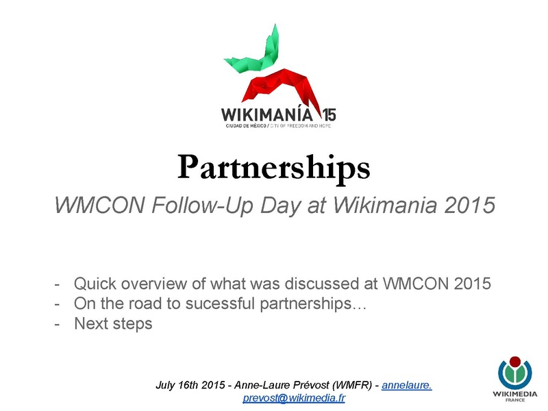 File:Wikimania 2015 - Workshop around partnerships (Follow-up WMCON 2015).pdf