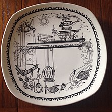 Norwegian decorative plate depicting the Wildrake in May 1979.