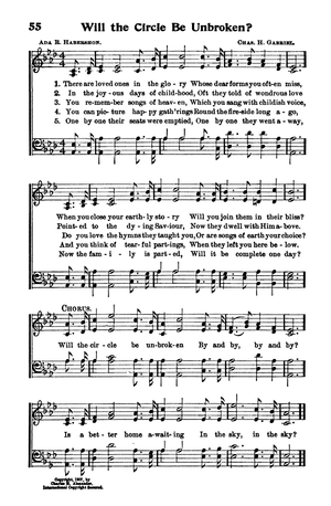 Will the Circle Be Unbroken? - Page from 1908 hymnal.