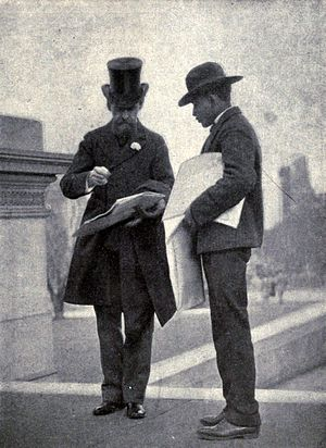 William A Clark buying a newspaper, circa 1906