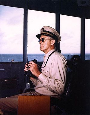 William M. Callaghan - Callaghan on the bridge of USS Missouri in 1944
