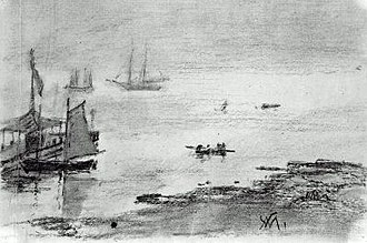 Isles of Shoals - Maine, View of Appledore, 1879, William Morris Hunt, charcoal on paper