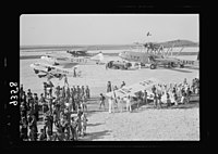 Wings over Palestine-Certificates of Flying School, April 21, 1939. Lydda runway showing air liners, etc., & test plane just taken off (Lydda Air Port) LOC matpc.18303.jpg
