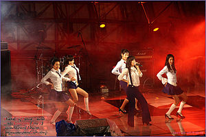 "Hyuna - Hyuna (second from left) performing ""Irony"" as a member of Wonder Girls at Hanyang University in May 2007"
