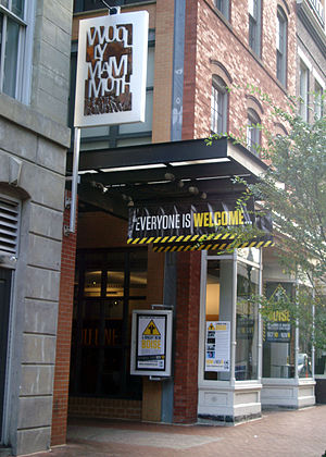 """Woolly Mammoth Theatre Company - Woolly Mammoth exterior during run of Second City's """"Spoiler Alert, Everybody Dies"""""""