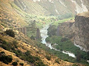 Yarmouk River - Railway bridge over the Yarmouk River destroyed in 1946