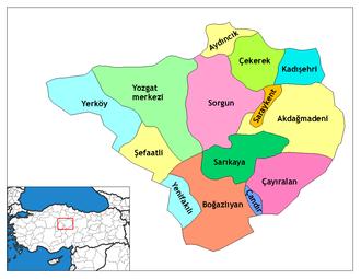 Aydıncık, Yozgat - Image: Yozgat districts
