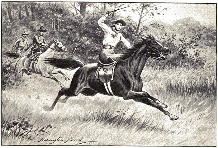 Man whipping horse into action. Other riders in distance