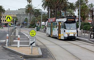 Melbourne tram route 3 - Z3 class tram on The Esplanade, St Kilda in May 2012