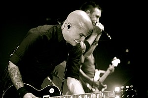 Rise Against - Blair and McIlrath  playing on the Appeal to Reason tour in 2008.
