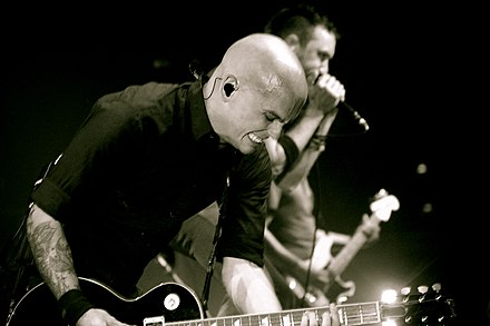 Blair and McIlrath playing on the Appeal to Reason tour in Hampton Beach Zach Blair Tim McIlrath Rise Against live 2008.jpg