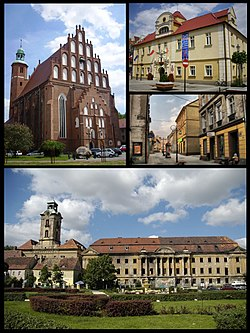 Top left: Parish Church, Top right: Town Hall, Middle right: Old Town, Bottom: Promnitzs' Palace