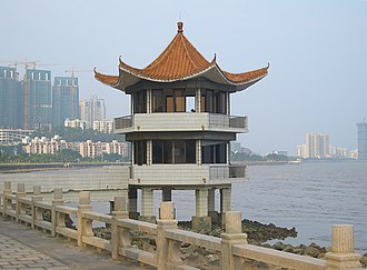 Borders of China - Border guards' booth on the sea coast in Zhuhai, Guangdong, across which is Macau.