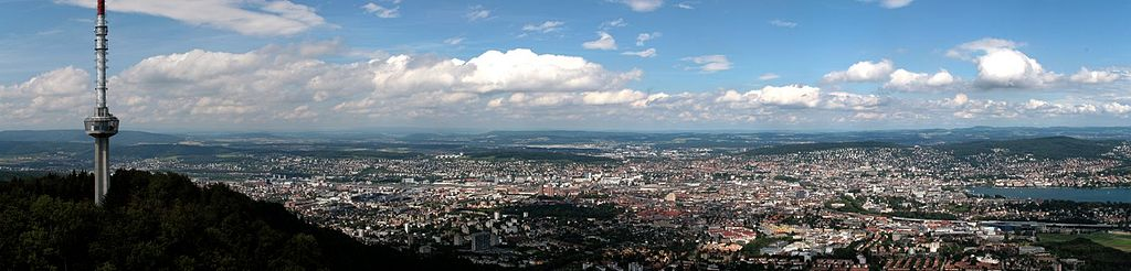 Panoramic view of Zurich from the Uetliberg