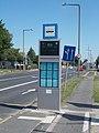 'Ipar utca, Volán-telep' bus stop with timetables and information display, 2018 Győr.jpg