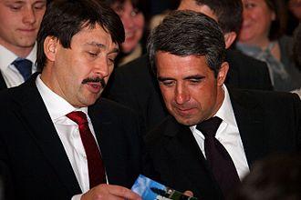 János Áder - Áder and Bulgarian President Rosen Plevneliev in April 2013