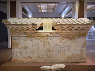 Hellespontine Phrygia - The Polyxena sarcophagus from Hellespontine Phrygia, in Late Greek Archaic style, 520-500 BCE. Çanakkale Archaeological Museum.