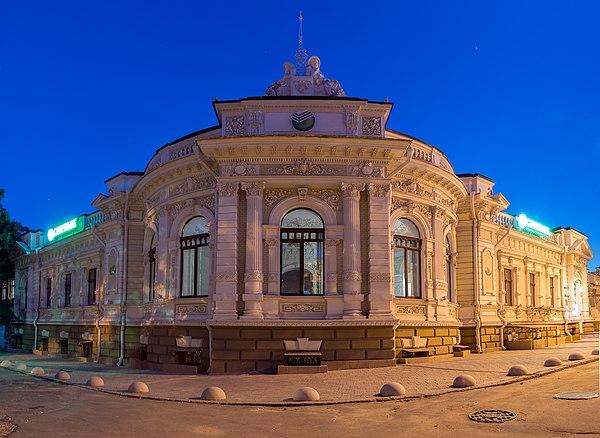 Будинок колишнього банку Товариства взаємного кредитування вночі, Херсон. © Сергій Рижков, ліцензія CC-BY-SA-4.0