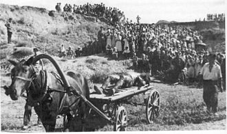 Gully of Petrushino - Early September 1943. Fascist atrocities discovered at Gully of Petrushino, Taganrog