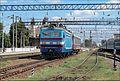 """Электровоз ВЛ40У-1397-1 с вагоном лаборатория """"Колієобстежувальна станція ЦП"""", станция Жмеринка. - panoramio.jpg"""