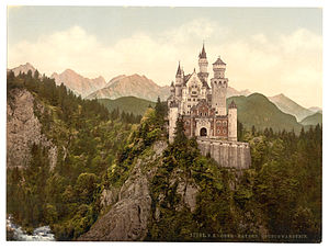 Photochrom - An 1890s photochrom print of Neuschwanstein Castle, Bavaria, Germany