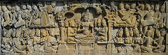Lalitavistara Sūtra - The Bodhisattva in Tushita before his birth as Siddhartha Gautama. Borobudur
