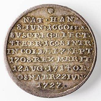 Funeral coin - Image: 1 4 Sterbethaler 1727 Georg I(Rs) 2739