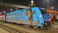A DBAG Class 101 with UNICEF ads at Ingolstadt main railway station