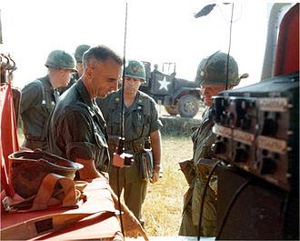 Operation Harrison - LTC Joseph B. Rogers commander of 1/327th Infantry briefs BG Willard Pearson during Operation Harrison